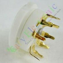 Vente en gros et au détail 20 pièces or 9pin PCB en céramique tube à vide douille doré base de soupape 12AX7 12AU7 ECC83 livraison gratuite