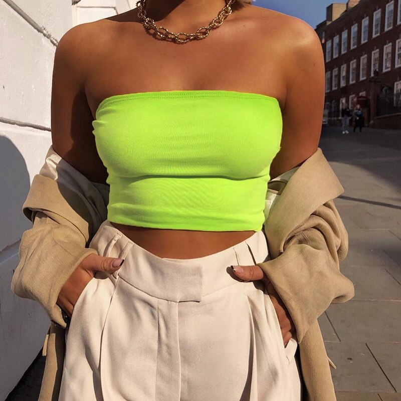 2019 Sexy Boob Tube Top verde fluorescente breve mujeres tanque Top verano corto vendaje Bodycon Camiseta Mujer