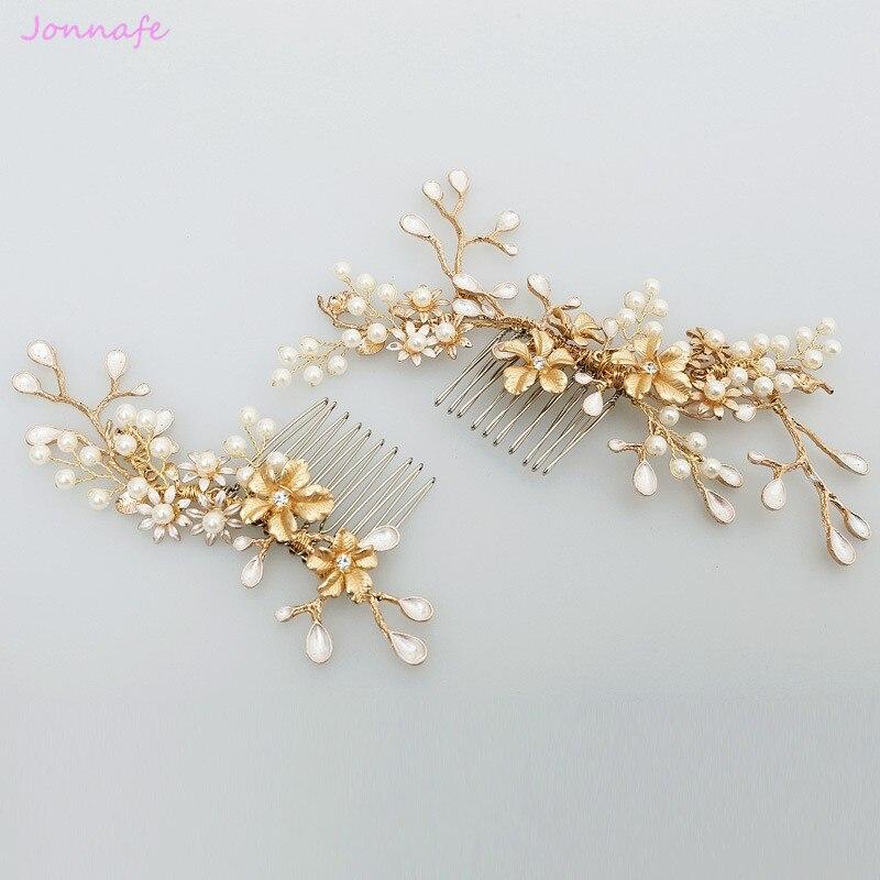 Jonnafe nuevo diseño Gold Branch peineta de flor perla boda accesorios de joyas para el pelo Vintage peinetas nupciales Headwear