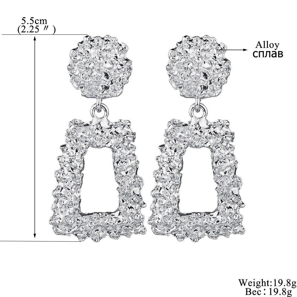 Купить с кэшбэком 2019 Trendy Statement Dangle Earrings for Women Fashion Vintage Metal Geometric Big Gold long femme Drop earrings Boho Jewelry