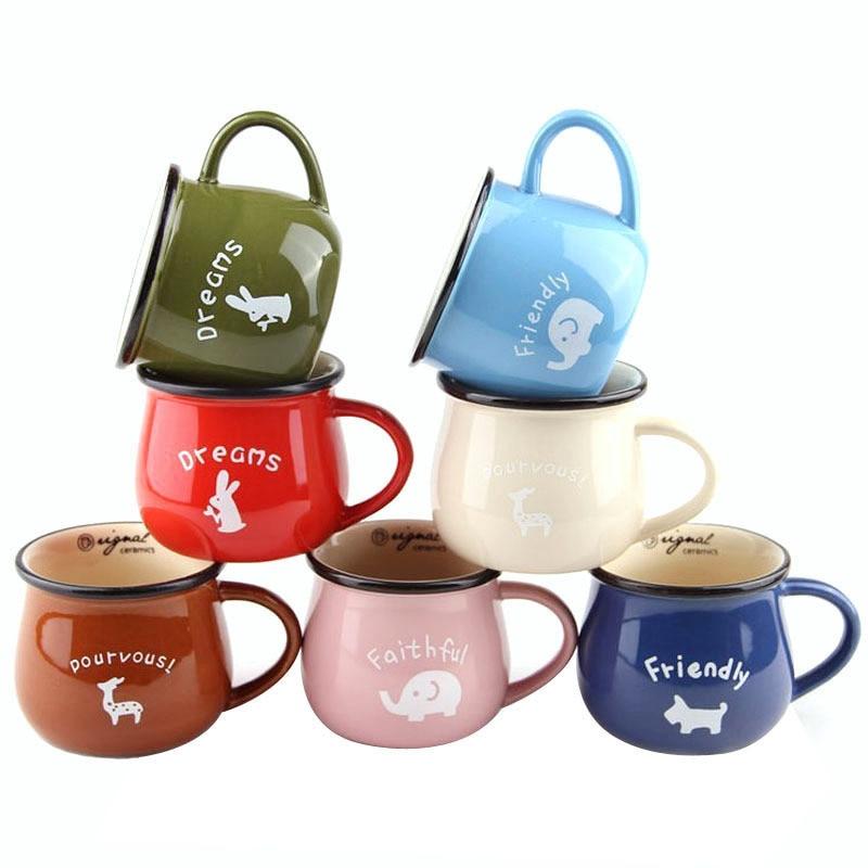 Creative European Style Ceramic Glaze Belly Cup Office Casual Milk Breakfast Cup Coffee Mug Cartoon Animal Pattern Water Cups