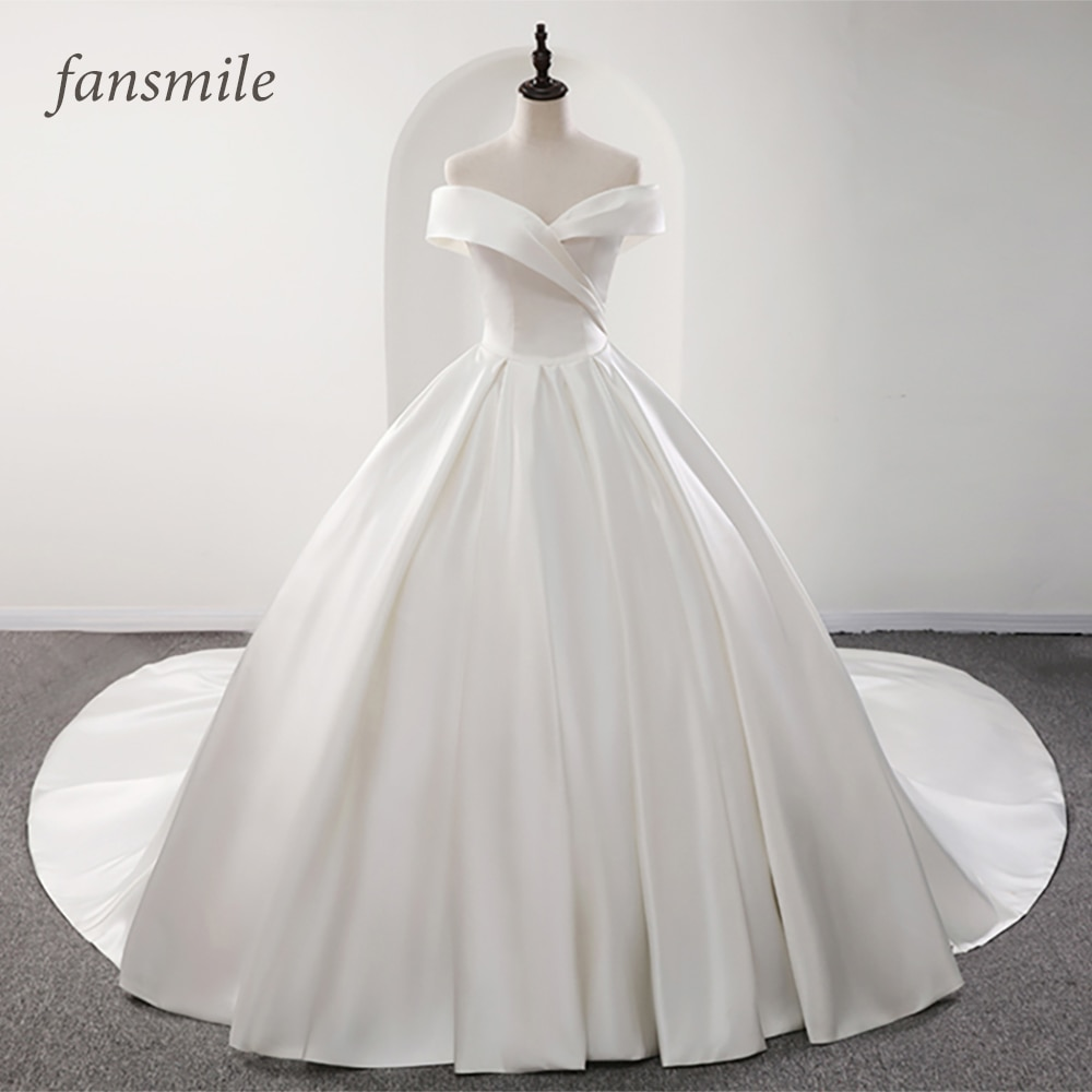 Fansmile 2020 رداء دي ماريج لامع الساتان الكرة فساتين الزفاف Vestido De Noiva زائد حجم مخصص فساتين الزفاف FSM-573T