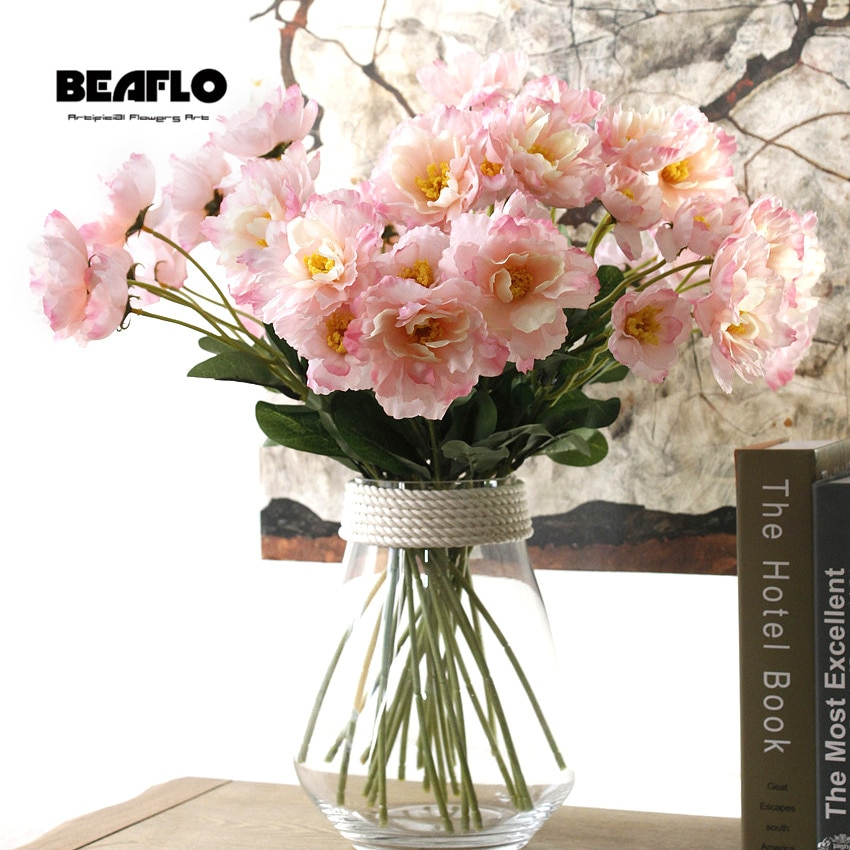 Flores artificiales de bricolaje, 1 rama, 6 colores, romero, dos cabezas, flores de seda, planta falsa para boda, fiesta en casa, decoración