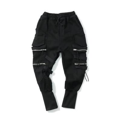 Steampunk casual cremallera bolsillo Negro hombres Pantalones negro personalidad moda cargo pantalones cintura elástica
