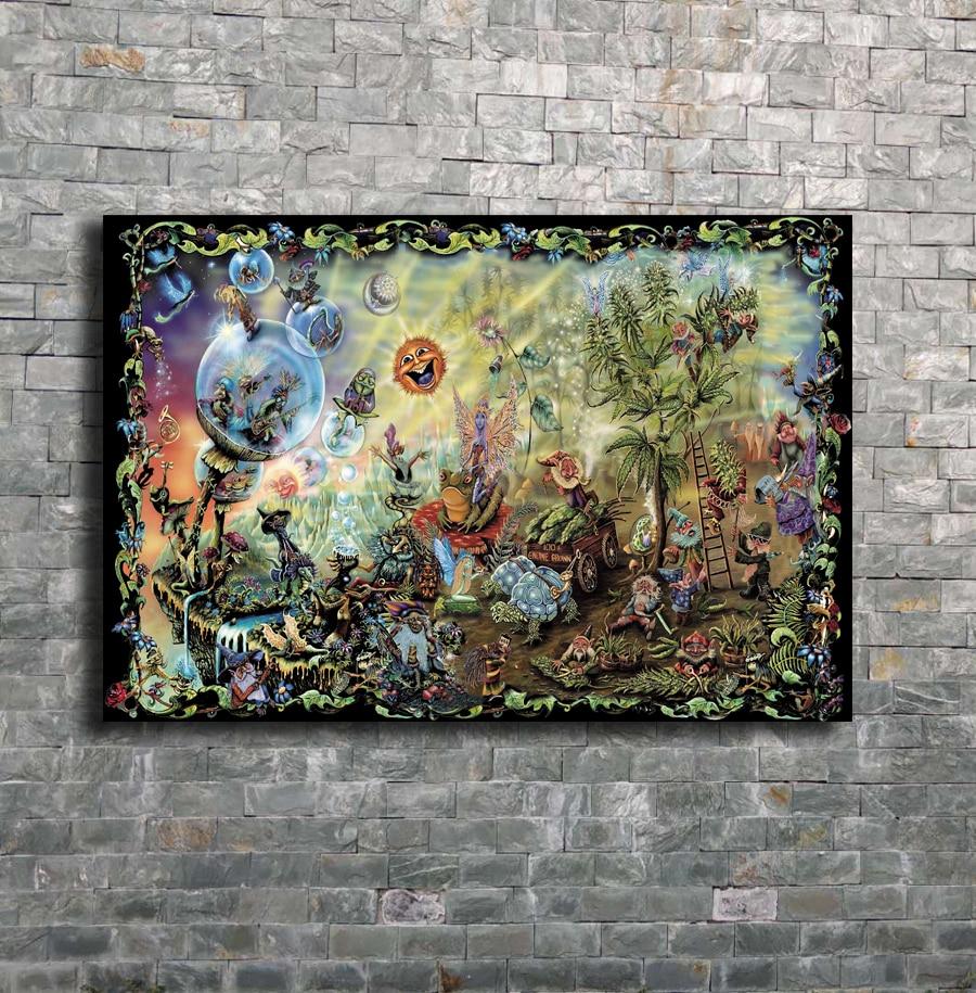 Las hadas gnomos setas mágicas psicodélico flipante arte lienzo Poster Impresión de pared abstracta decoración del hogar imagen 12x18 24x36 27x40