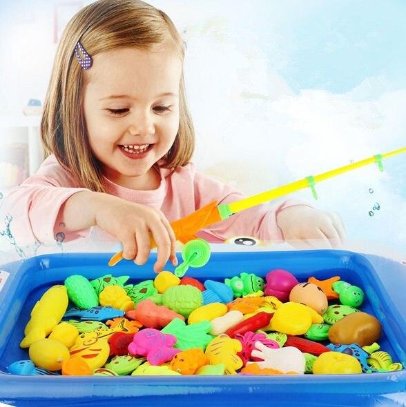 20 pièces/ensemble poisson jouet jeu de pêche filles ensemble costume magnétique pêche jeu eau anneau bébé jouets enfants garçons enfants jeu piscine jouets
