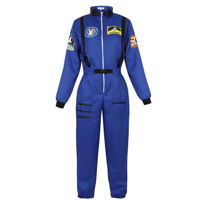 Trajes de astronauta feminino traje espaço adulto plus size vôo terno astronauta macacão fantasia vestir-se trajes tamanho dos eua S-2XL