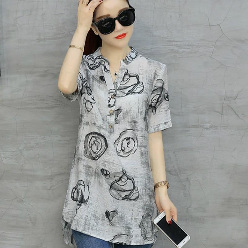 2019 Модные Винтажные блузки с цветочным принтом женская с короткими рукавами плюс размер рубашка Повседневная хлопковая Льняная блуза Длинная сорочка  D532