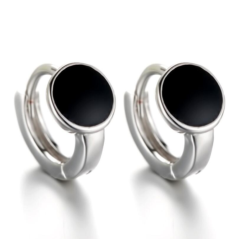 Exquisite Black Round Ear Hook Earrings For Women Trend Creative 925 Sterling Silver Party Gift Jewe
