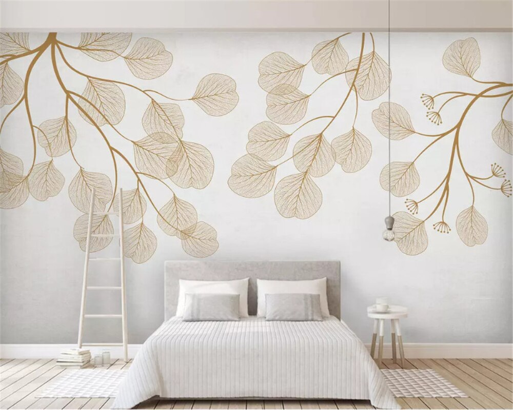 Beibehang moda personalizada tridimensional nórdico minimalista pintado a mano flamenco hojas mosaico papel tapiz de fondo