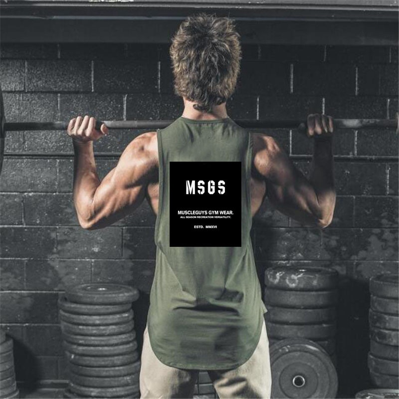 Muscleguys Brand Fitness Clothing Bodybuilding Stringer Gyms tank top mens musculation vest Sleevele