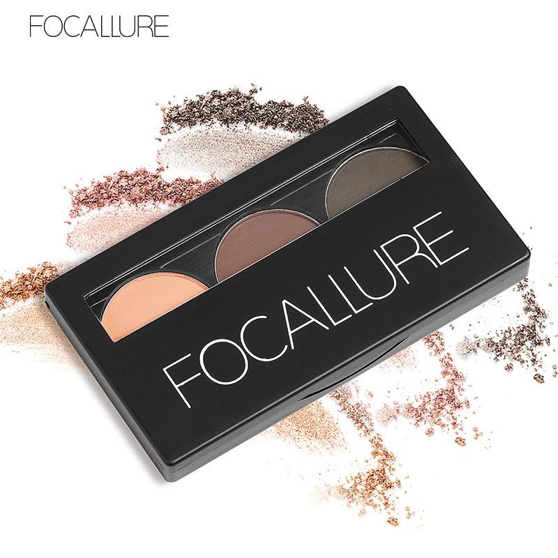 3 colores, resistente al agua sombra de ojos, paleta de maquillaje en polvo para cejas, maquillaje cosmético de belleza para mujer, juego de maquillaje para cejas por Focallure