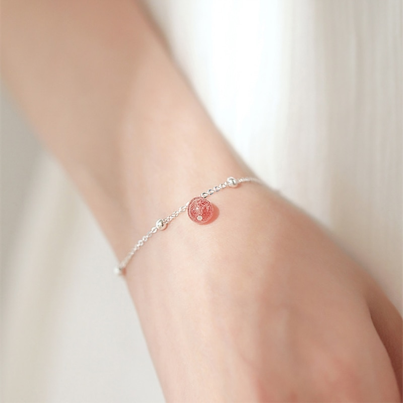 Bola de cristal de fresa, regalo sencillo, temperamento de Plata de Ley 925, pulseras de tamaño reajustable de moda para mujer SBR021