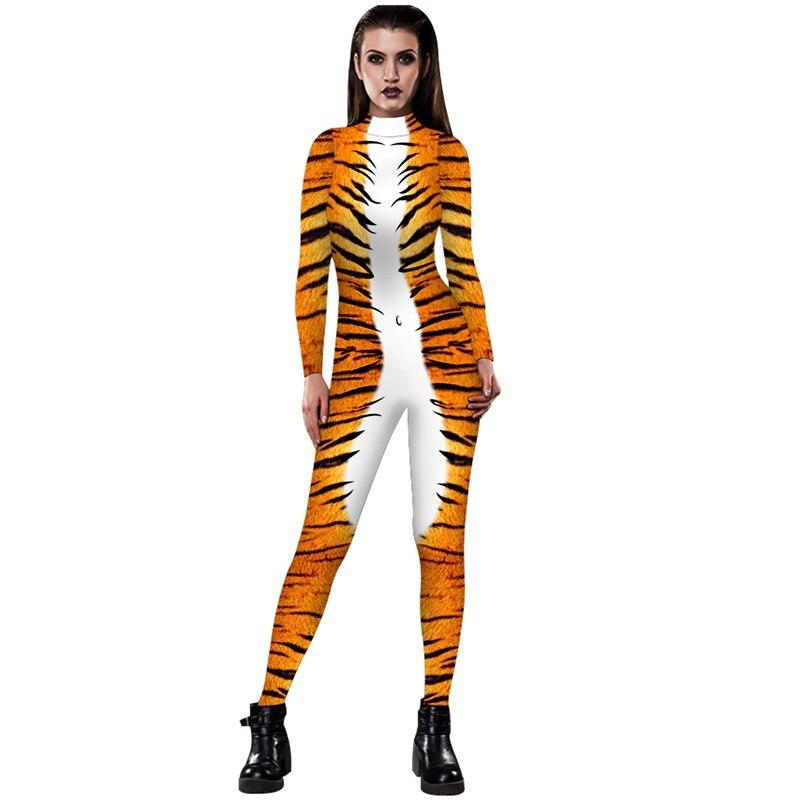 4 estilo divertido traje largo monos bohemios leopardo/serpentina/estampado de tigre mujeres Comic Romper una pieza Mono para jugar con cremallera