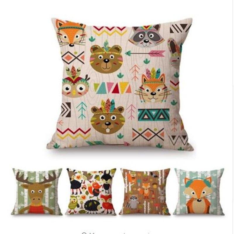 Woodland Animals Sofa Cushion Cover Forest Fox Racoon Owl Bear Deer Fox Cute Cartoon Baby Kids Room Decoration Throw Pillow Case