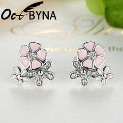 Octbyna pequena cor de prata única poética daisy cherry blossom marca brincos para as mulheres rosa flor minúsculo brinco jóias