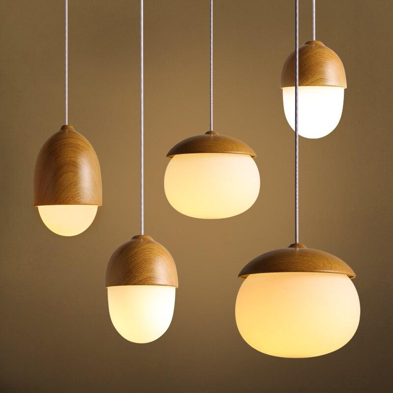 Lámpara de techo nórdica Vintage Industrial de vidrio incandescente, lámpara colgante de madera para cafetería, Bar, Club, tienda, restaurante, balcón, Galería