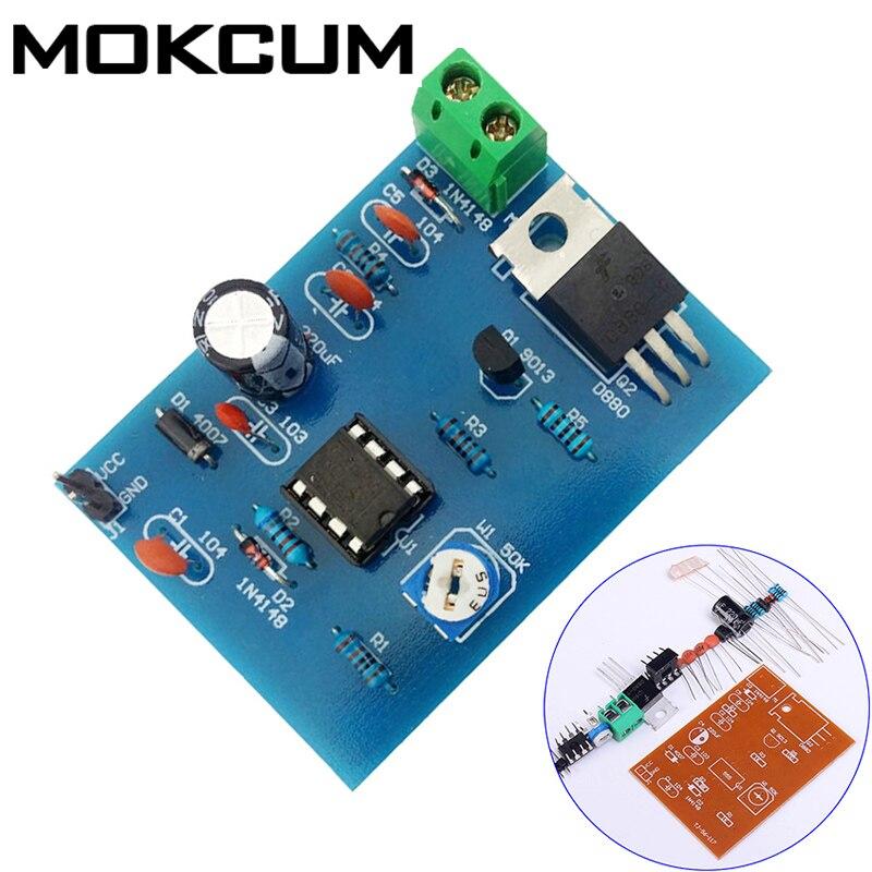 Kits DIY de 5-12V 555 regulador de velocidad de modulación de ancho de pulso conjunto de piezas de entrenamiento de habilidades de producción electrónica