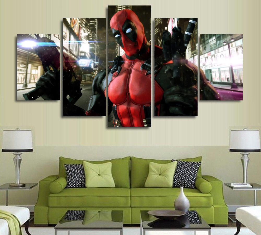 5 paneles pared arte Deadpool máscara pistola pintura automática lienzo habitación decoración impresión cartel sin marco 829