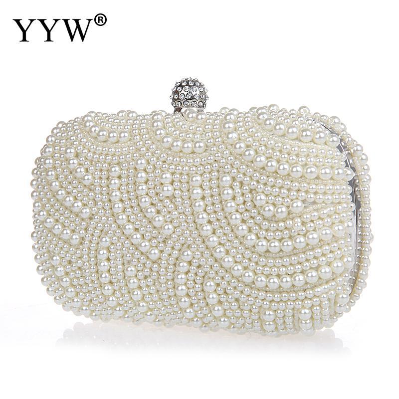 YYW Bolso de mano con perlas geométricas hecho a mano con diamantes...