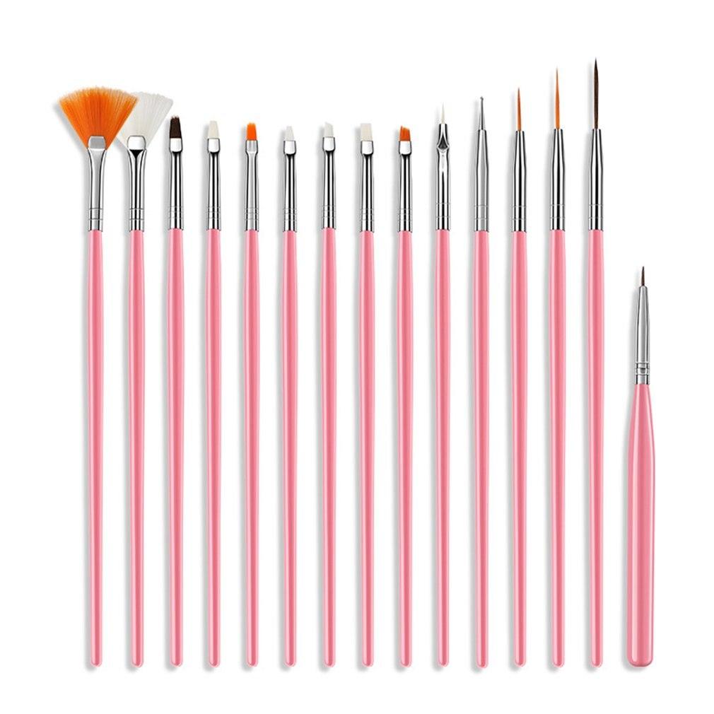 15 pçs novo prego boca plana fototerapia pintura flor puxar caneta esponja caneta mancha