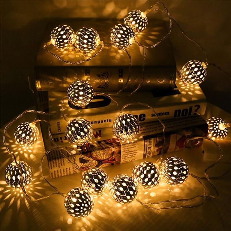 10 LED Marokkaanse Lantaarn Solar Lamp Premium Kwaliteit Waterdichte Zonne-energie Fairy Metalen Globe String Licht Voor Kerst Bomen