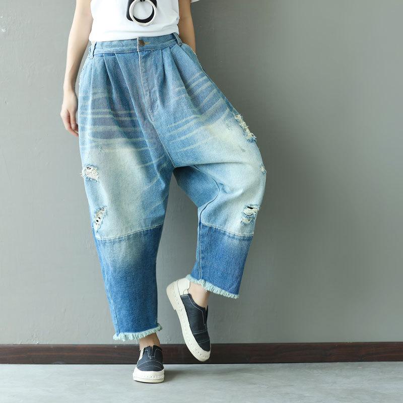 Vintage Harajuku Cross-pantalon Hippie Boho décontracté Punk gland Patchwork taille élastique Denim bleu Jeans pantalon pour femmes pantalon
