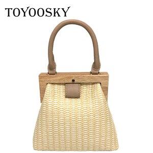 TOYOOSKY Straw Bag 2019 New Fashion Wooden Clip Women Shoulder Bag Summer Travel Beach Bag Luxury Handbags Women Bags Designer