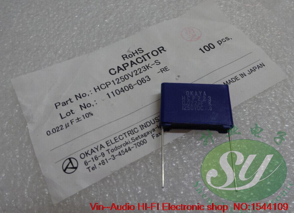 2019 venda quente 10 pces/20 pces okaya 0.022uf/1250v 22nf 223 novo capacitor de filme fino 22mm frete grátis