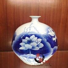 Package mail jingdezhen ceramics mushroom bottle lotus masters Wu Wenhan hand-painted blue and white porcelain vase