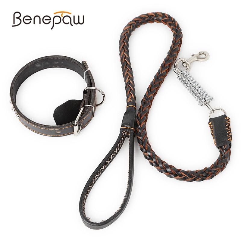 Benepaw Durable Braided Leather Dog Collar Leash Set For Medium Big Dogs Soft Buffer Spring Pitbull Pet Leash Collar  Supplies
