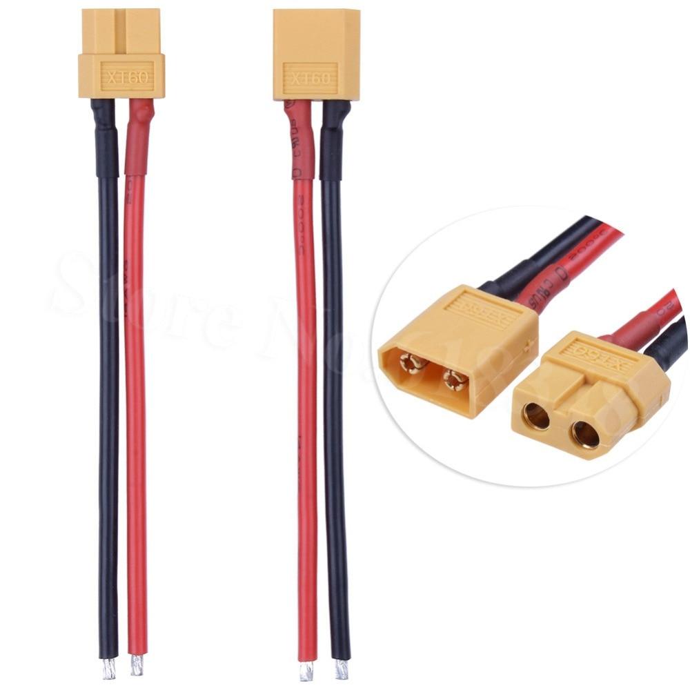 "1 par XT60 conector macho Famale con 14AWG Cable de silicona 3,9 ""(10 cm) para RC controlador de velocidad ESC Motor eléctrico"