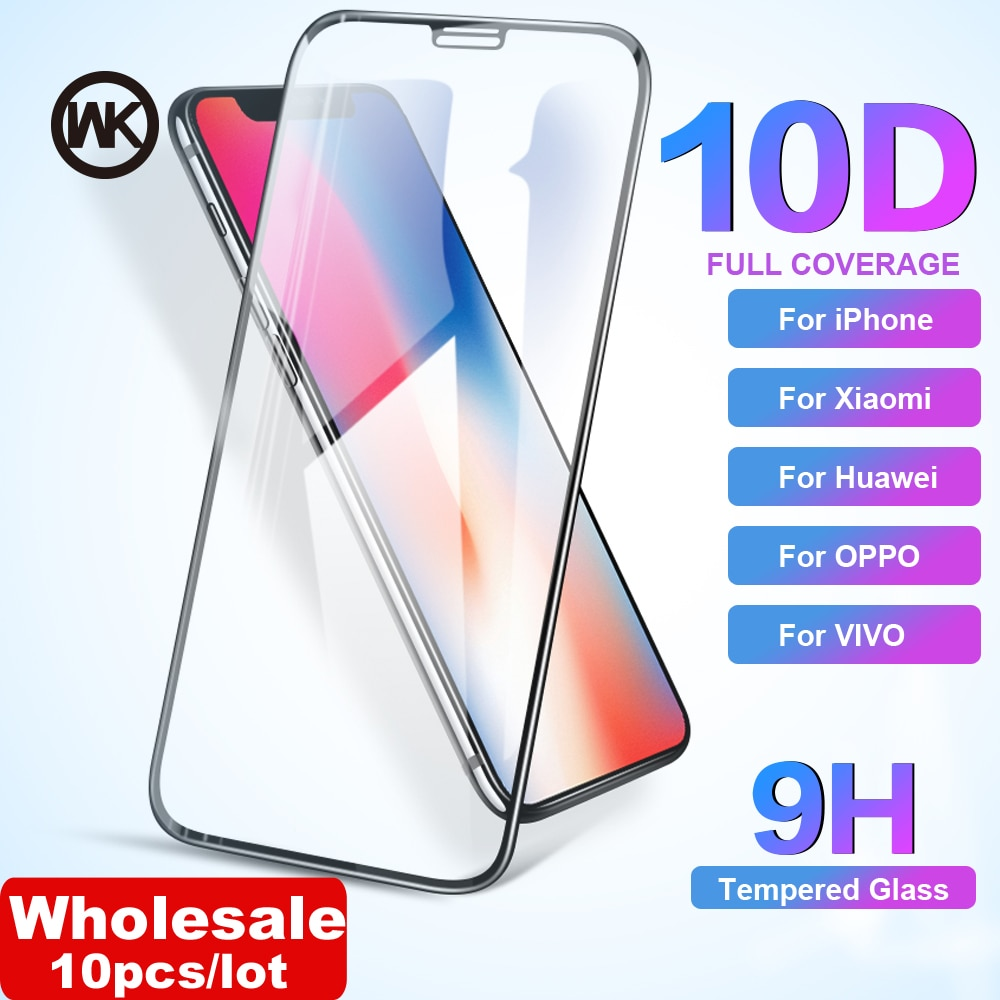Semana venta al por mayor 10 unids/lote 10D curvo de cristal templado Protector de pantalla para iPhone 6 iPhone 6 6 S 7 7 Plus X XR XS Max Huawei Xiaomi Vivo Oppo