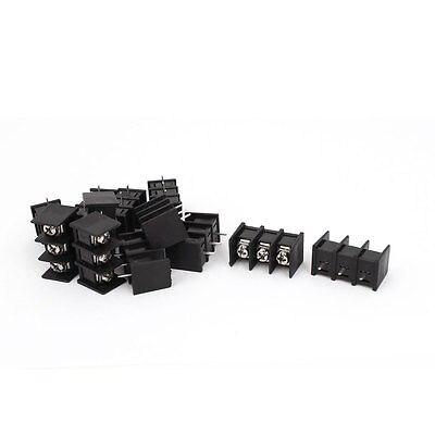 300V 20A ZB45 3P 3 Position 8mm Pitch Screw Terminal Barrier Blocks Black 12pcs