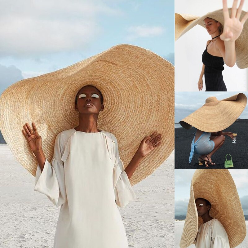 Hats for Women Super Large Eaves Sunshade Sun Hat Travel Holiday Seaside Sunscreen Folding Beach Straw Hat