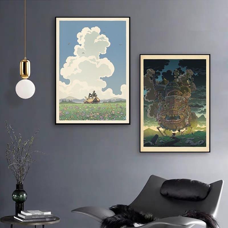 Cuadros de lienzo de arte de pared decoración del hogar mi vecino Totoro Anime Estilo nórdico Poster HD impreso Pintura modular sala de estar