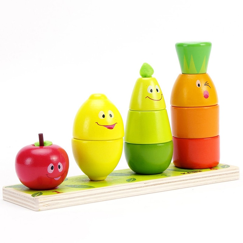 2019 juguete educativo de madera para niños, juguete de madera, clasificador de Color, apilamiento, rompecabezas grueso para bebés, niños, Montessori, Aprendizaje Temprano