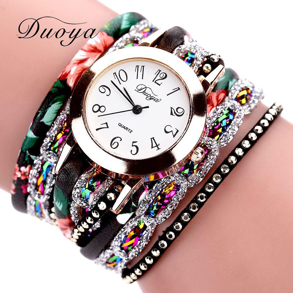 Duoya marca moda redonda dial relógio de quartzo feminino flor relógio de pulso de aço pulseira de luxo relógio de pulso de couro multicamadas