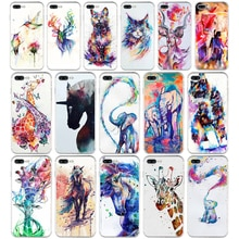 289WE acuarela pintura de un elefante jirafa caballo gato suave TPU funda de silicona para iPhone 6 De Apple 6s 7 8 plus funda