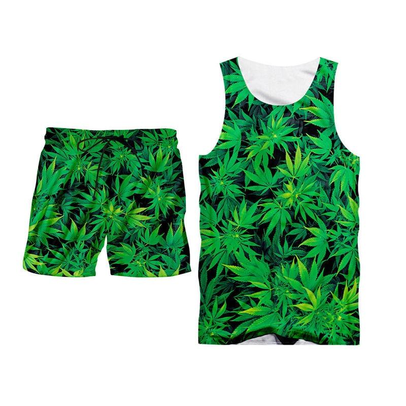 Novedad 3d Hojas de hierba verde imprimir Tank Tops + Pantalones cortos conjuntos de los hombres de verano Fitness sin mangas Camisa con capucha pantalones cortos establece S-6XL personalizado