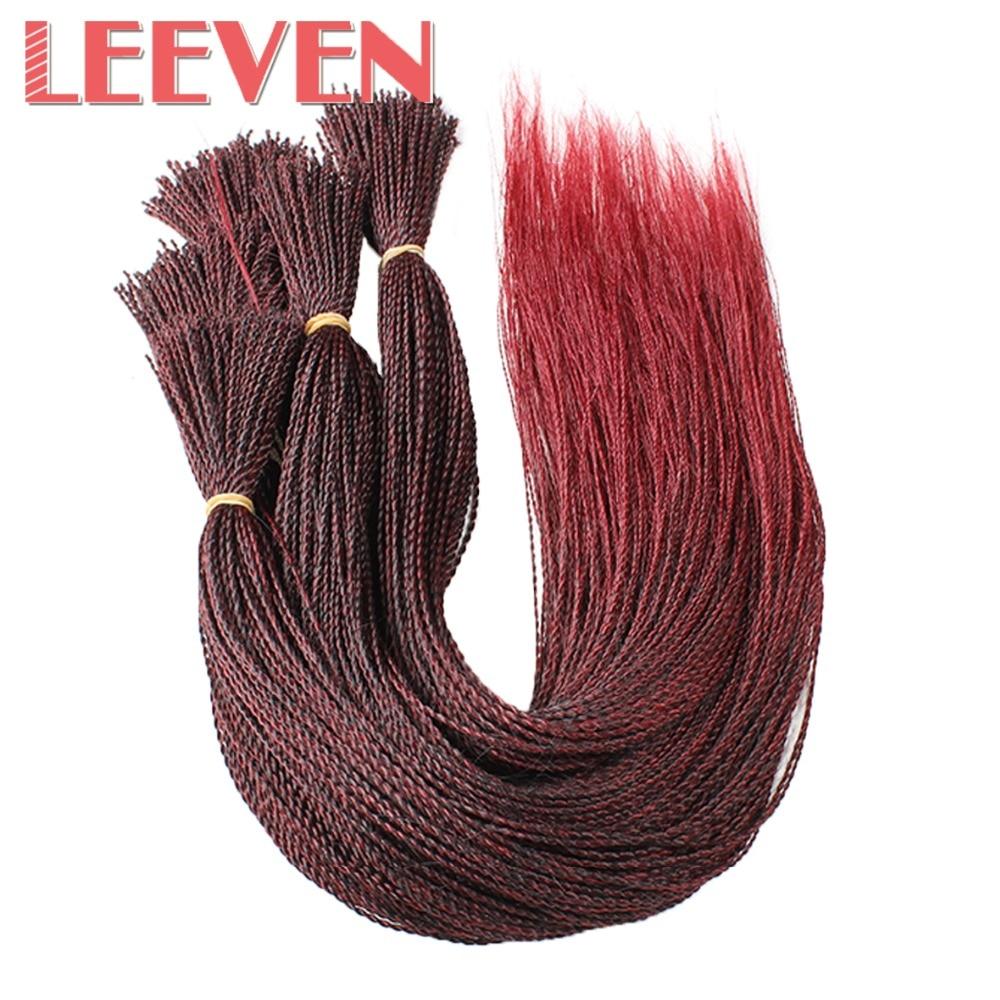 Leeven 22 pulgadas Senegalese Twist Crochet trenzas cabello millones de trenzas Ombre negro marrón pelo sintético trenzado hecho en pelucas