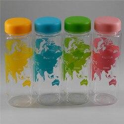 Garrafa de água de plástico portátil que acompanha o mapa da série mundial garrafa 500ml suco de limão esportes garrafa de água