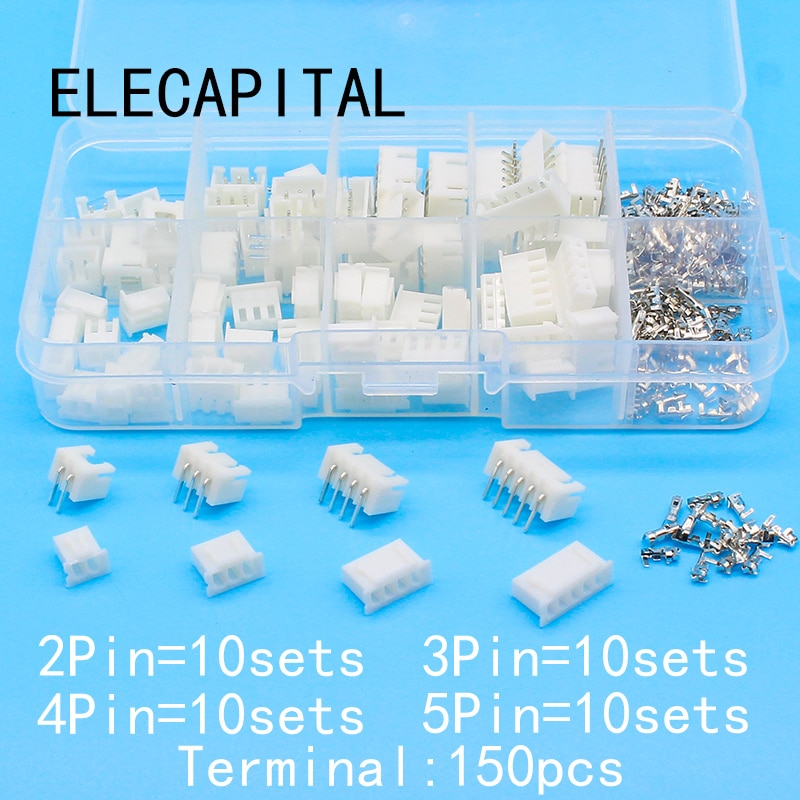 40 sets Kit de caja de 2p 3p 4p 5pin ángulo recto 2,54mm Terminal/vivienda/conector de pines adaptador Kits XH