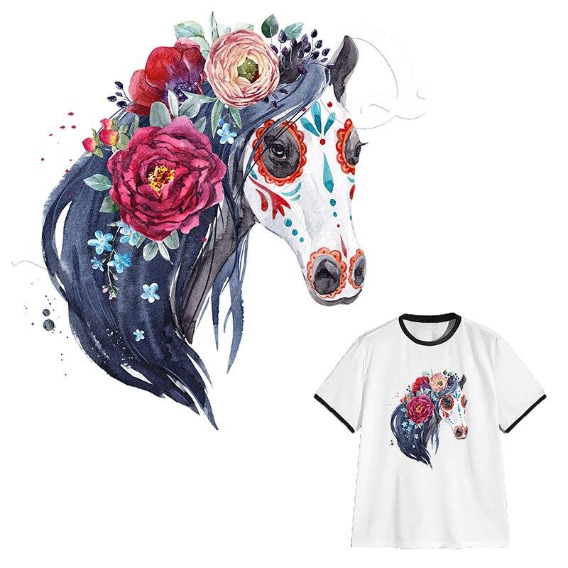 Parches de caballo de flores DIY Apliques de transferencia de calor impresión fácil por planchas domésticas prendas de ropa lavables pegatinas