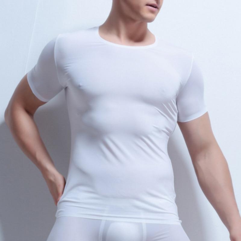 Men Sexy Slim Tight Tops T-Shirts Compression Tee Fitness O-Neck Solid Short Sleeve Ice Silk T Shirt Superthin Sleep Undershirt