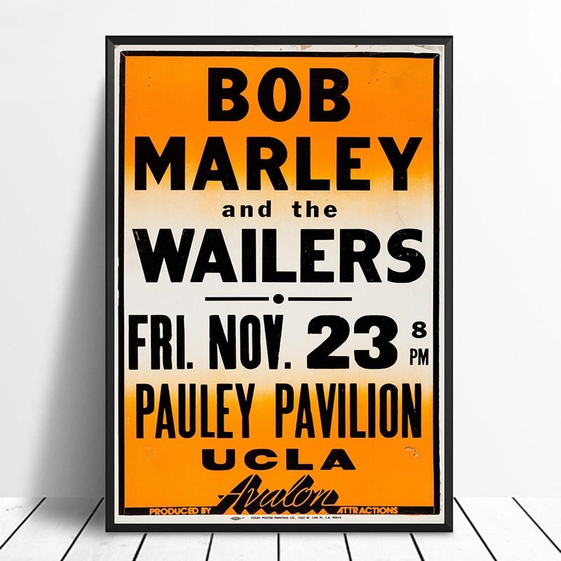 Bob Marley And The Wailers Pauley Pavilion Concert Poster 1979 Fine Art Wall Art Reggae Rare Home Decor Wall Art Canvas Print