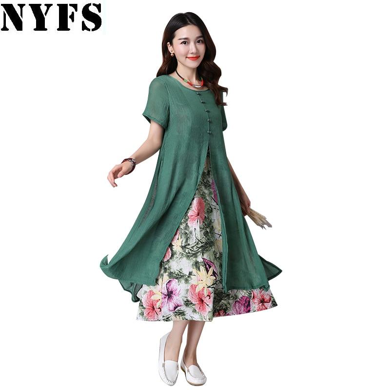 NYFS 2020 nuevo vestido de verano de manga corta de algodón de lino de las señoras Lotus vestido largo falso de dos piezas mujeres Vestido Mujer Vestidos Bata