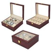 10 fentes à la main en bois boîte de montre en bois horloge boîte montre boîte de temps pour la tenue de montre