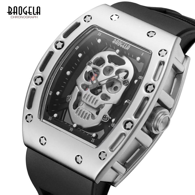 Baogela hombre moda militar correa de silicona rectángulo Dial calavera deporte relojes de pulsera de cuarzo BGL1612G-1