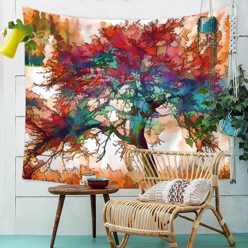 Tela de tapiz con pintura de árbol de vida de Color para colgar en la pared, toalla de playa, tapices, toalla, Sábana de cama gitana, decoración del hogar, mantel